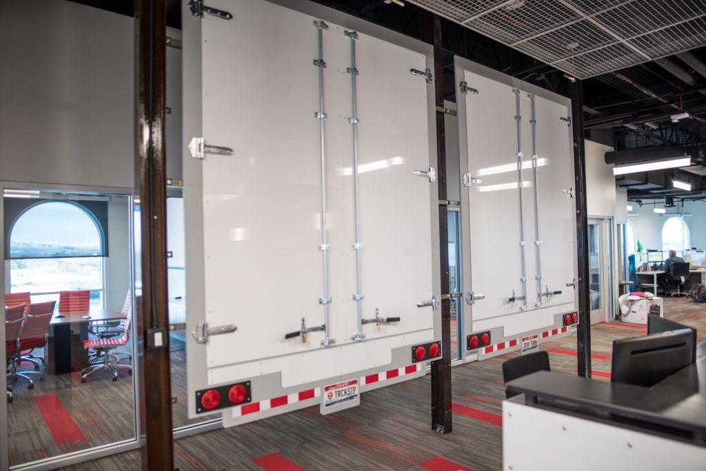 Truckstop.com Faux semi-truck doors for reception backdrop